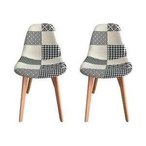 Sada 2 židlí s nohami z bukového dřeva Ashley Patched