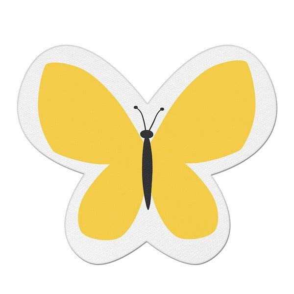 Pernă din amestec de bumbac pentru copii Apolena Pillow Toy Butterfly, 26 x 30 cm, galben