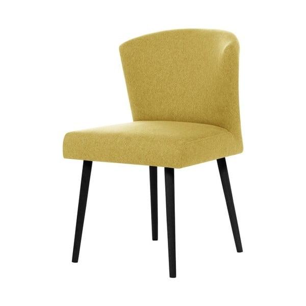 Žltá jedálenská stolička s čiernymi nohami Rodier Richter