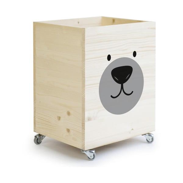 Dřevěná úložná krabice na kolečkách Little Nice Things Bear