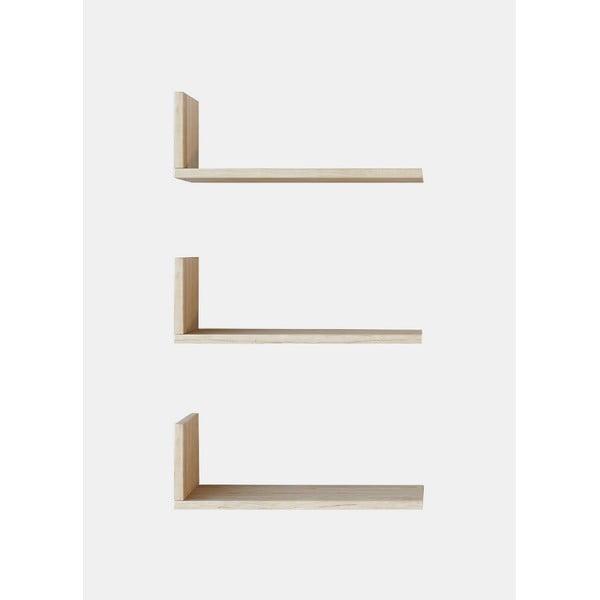 Sada 3 hnědých nástěnných poliček Shelfie, šířka 40 cm