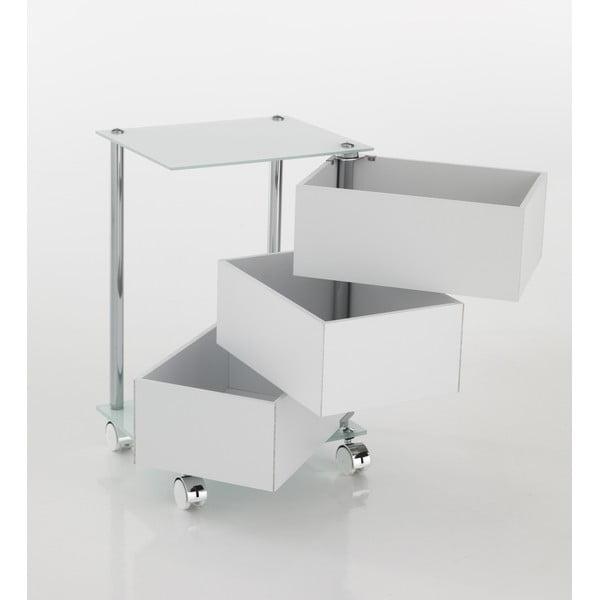 Bílý pojízdný vozík se 3 zásuvkami Tomasucci Bobo