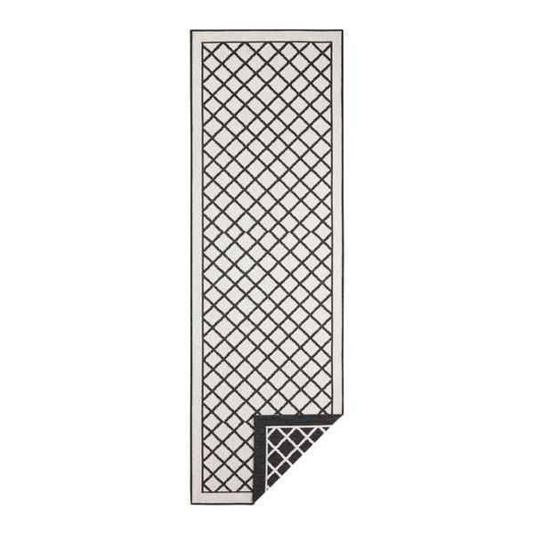 Sydney fekete-krémszínű kültéri szőnyeg, 80 x 350 cm - Bougari
