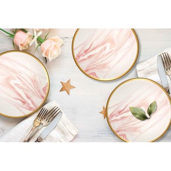 Set 6 farfurii din porțelan pentru desert Mia Lucid, ⌀ 19 cm, roz - alb