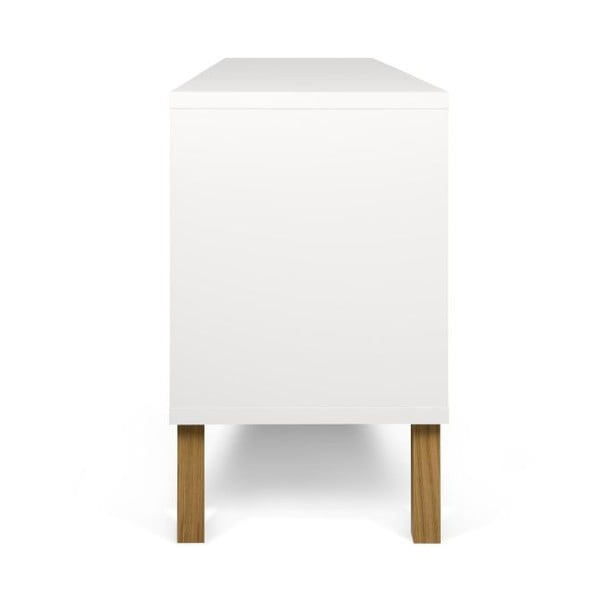 Bílá nízká komoda s dřevěnými nohami TemaHome Niche