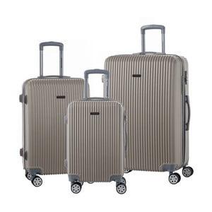 Sada 3 cestovních kufrů na kolečkách v barvě champagne Travel World Emilia