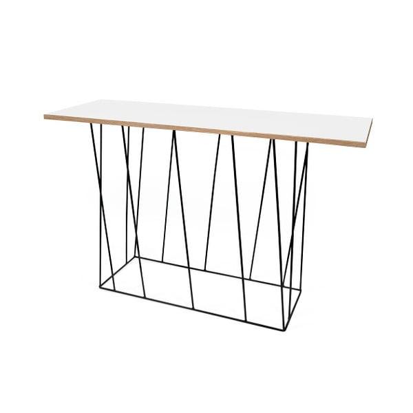 Bílý konzolový stolek s černými nohami TemaHome Helix