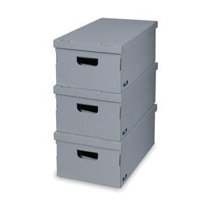 Sada 3 šedých úložných boxů Domopak
