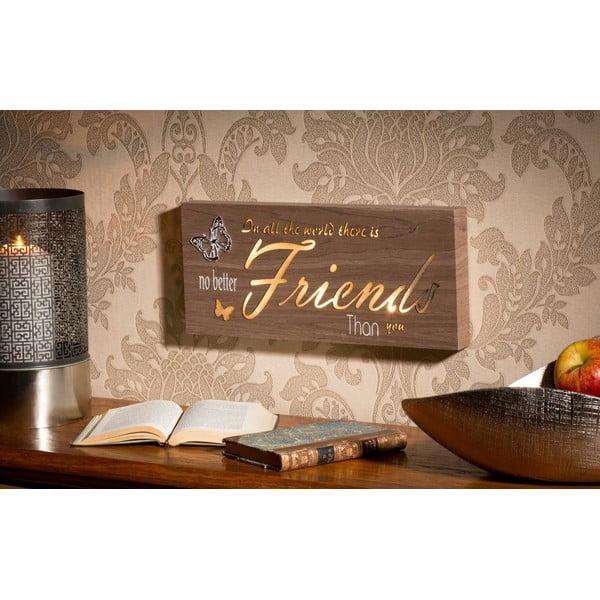 Obraz se svítícím nápisem Friends, 34x15 cm