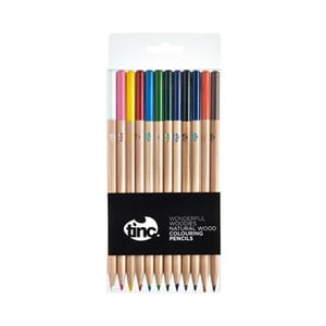 Set 12 creioane colorate din lemn natural TINC Wonderful Woodies