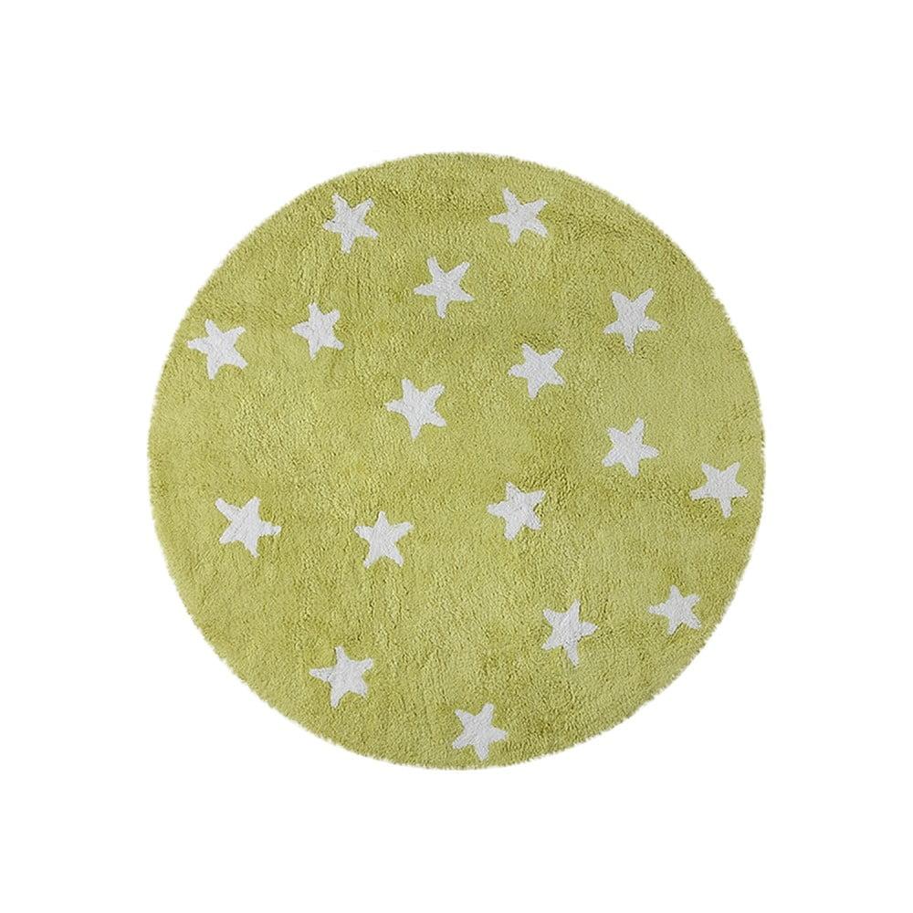 Zelený bavlněný ručně vyráběný koberec Lorena Canals Sky, průměr 140 cm