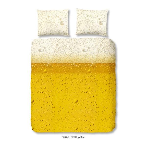Žluté povlečení na dvoulůžko z bavlny Good Morning Beer,200 x 240 cm