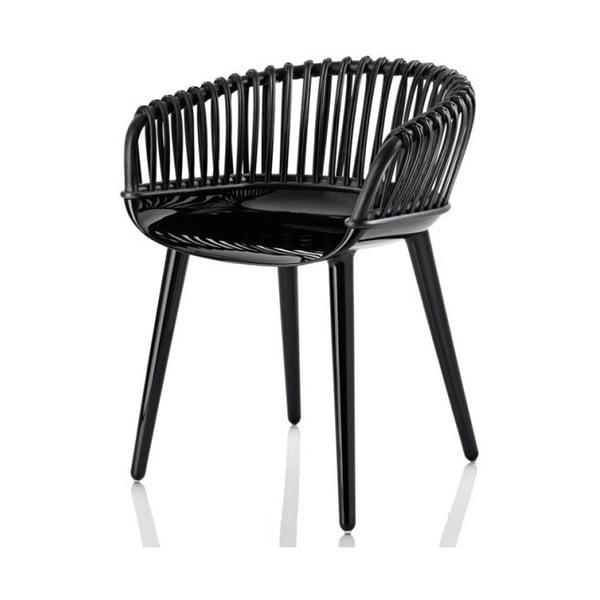 Černá jídelní židle s výpletem Magis Cyborg