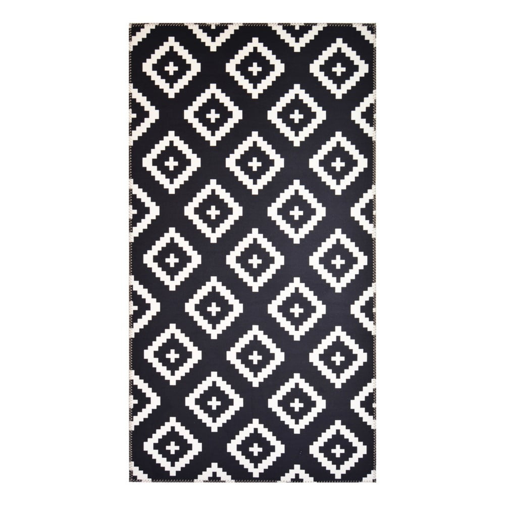 Černobílý koberec Vitaus Geo Winston,80x150cm