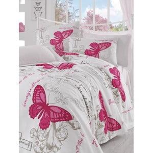 Přehoz s prostěradlem Pink Butterfly, 160x235 cm