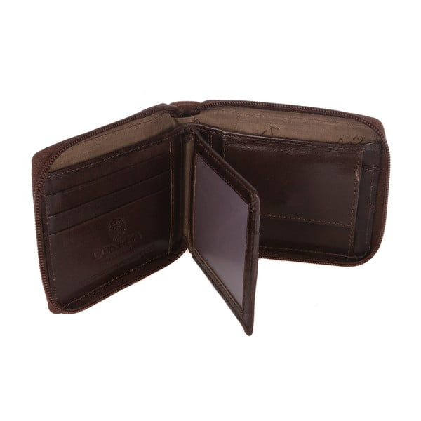 Pánská kožená peněženka Kingsbury' Dark Brown/Chestnut Zip-Round Wallet