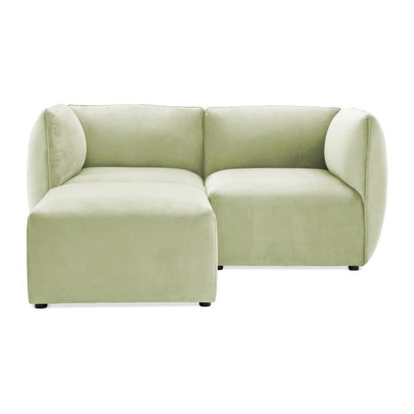 Canapea modulară cu 2 locuri și suport pentru picioare Vivonita Velvet Cube, verde deschis