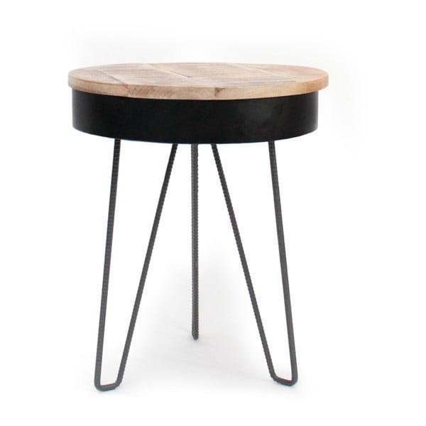 Černý příruční stolek s dřevěnou deskou LABEL51 Saria