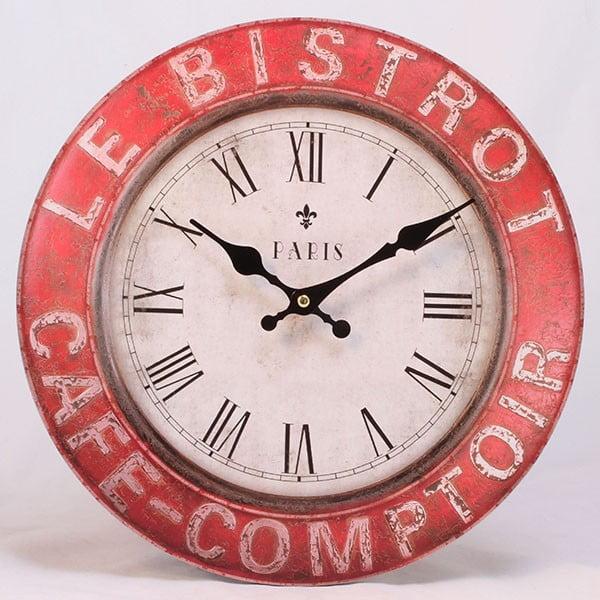 Dřevěné hodiny Le Bistro Paris, 34x34 cm