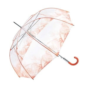 Transparentní holový deštník s oranžovými detaily Ambiance Birdcage Tropical Leaves, ⌀86cm