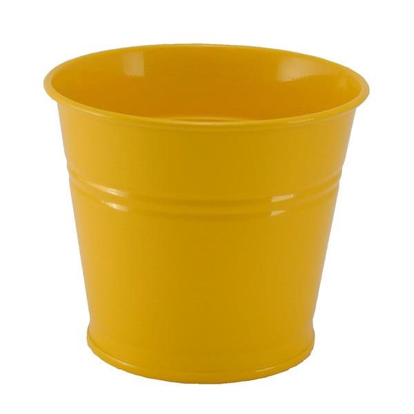 Kovový květináč Kovotvar, 10x14 cm, žlutý