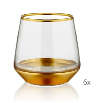 Set 6 pahare Mia Glam Gold, 257 ml