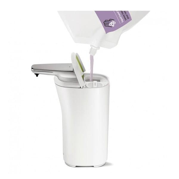 Bílý bezdotykový dávkovač mýdla simplehuman Compact