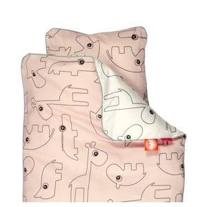 Lenjerie de pat pentru copii Done by Deer Contour, 70 x 80 cm, roz