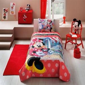 Dětský přehoz s povlakem na polštář Minnie Tea Time,160x220cm