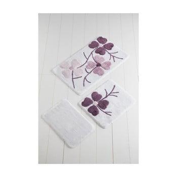 Set 3 covorașe de baie Confetti Bathmats Flowers, violet – alb de la Chilai Home by Alessia