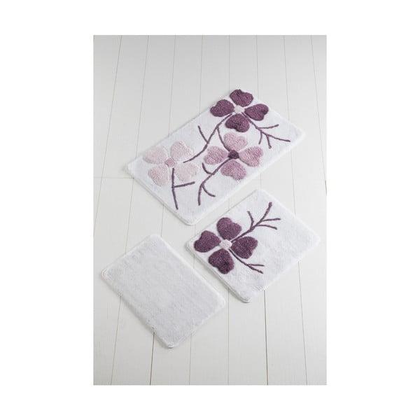 Zestaw 3 fioletowo-białych dywaników łazienkowych Flowers