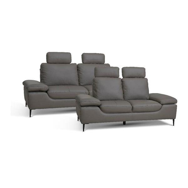 Canapea din piele cu 2 locuri Furnhouse Viktor, lățime 217 cm, gri