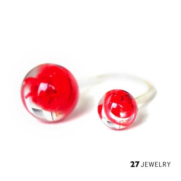Červený dvojitý prsten ze skla Enamor