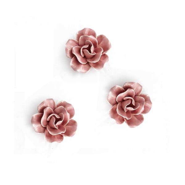 Keramická květina k zavěšení 3ks, růžový