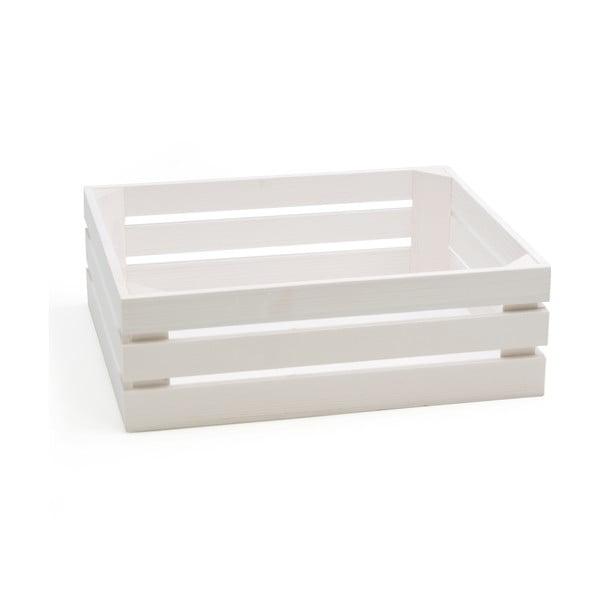 Biały pojemnik z drewna jodłowego Bisetti Fir, 32x26 cm