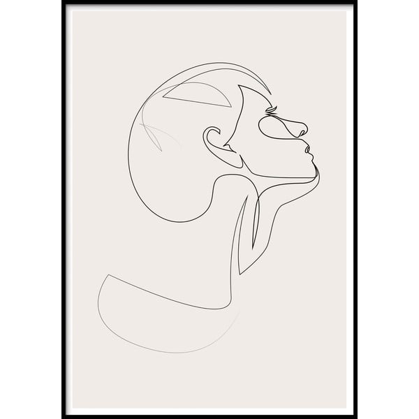 SKETCHLINE/FACE keretezett fali kép, 40x50cm