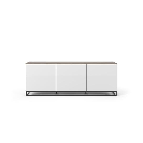 Join fehér TV állvány diófa dekor fedlappal és fekete lábakkal, 180 x 65 cm - TemaHome