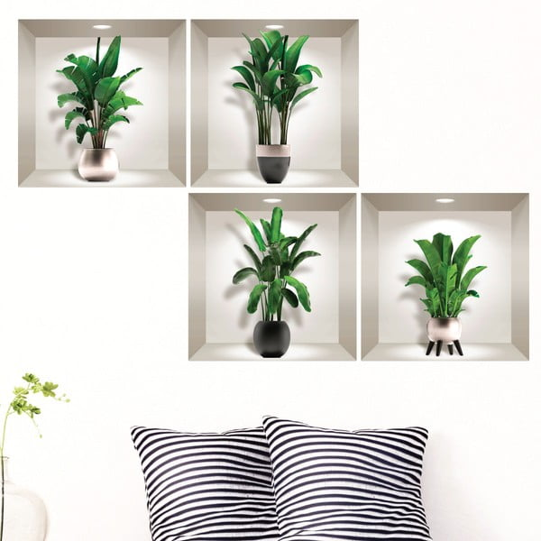 Sada 4 3D samolepek na zeď Ambiance Exotic Palm Leaves