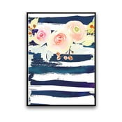 Plakát s květinami, bílo-modré pozadí, 30 x 40 cm