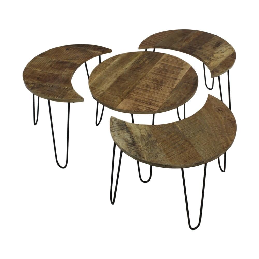 Sada 4 konferenčních stolků z mangového dřeva HSM collection Puzzle