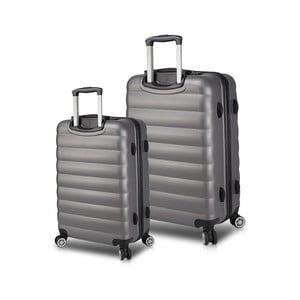 Sada 2 šedých cestovních kufrů na kolečkách s USB porty My Valice RESSNO Cabin & Medium