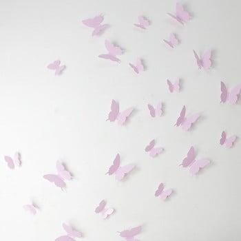 Set 12 autocolante 3D Ambiance Butterflies, roz de la Ambiance