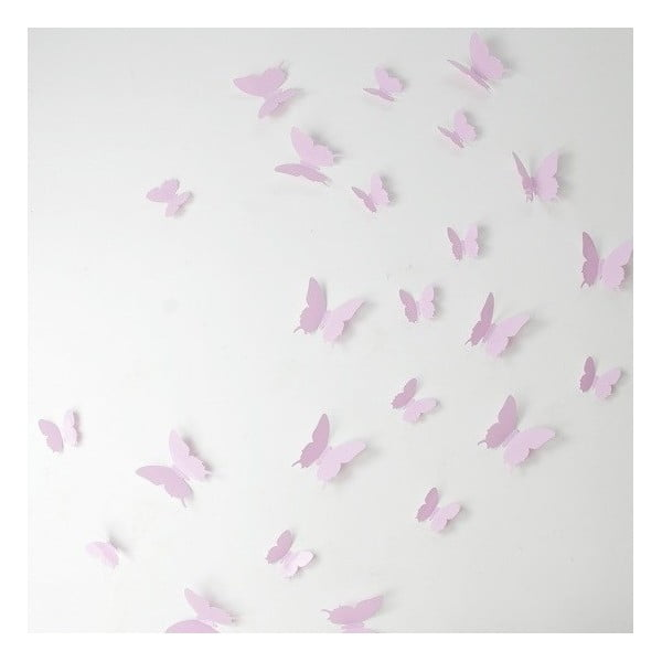 Set 12 autocolante 3D Ambiance Butterflies, roz