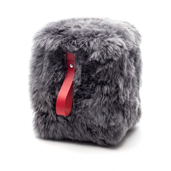 Šedo-červený hranatý puf z ovčí vlny Royal Dream