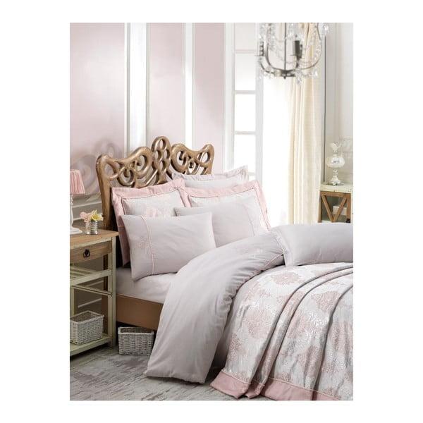 Prikrývka cez posteľ na dvojlôžko s obliečkami na vankúše Luna, 260×260 cm