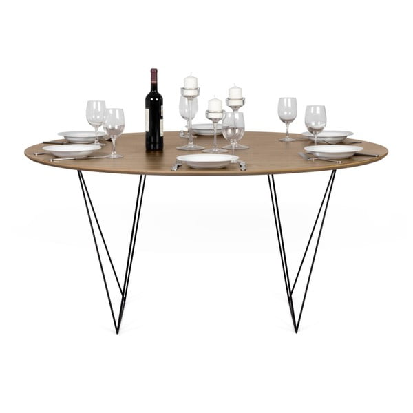 Jídelní stůl v dekoru ořechového dřeva s černým podnožím TemaHome Row, ⌀ 150cm