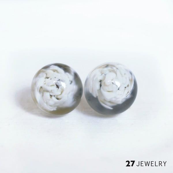 Bílé náušnice ze skla Enamor