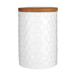 Recipient cu capac din lemn de bambus Premier Housewares Tri, ⌀ 10 cm, alb