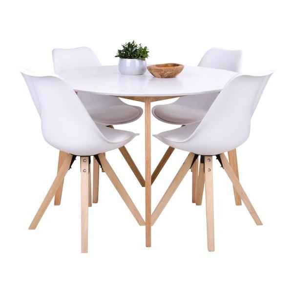 Jídelní stůl s kulatou bílou deskou loomi.design Vojens