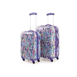Sada 2 barevných cestovních kufrů laděných do fialova SKPA-T